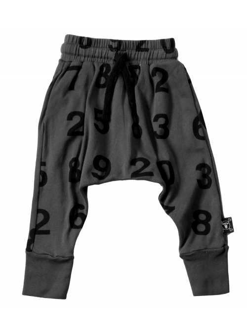 Children´s baggy pants – numbers, dark gray