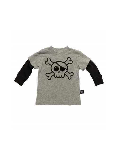 Children's  t-shirt with long sleeves and skull! Gray