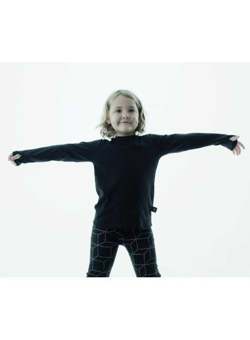 Children's  t-shirt with long sleeves and glove effect-gray