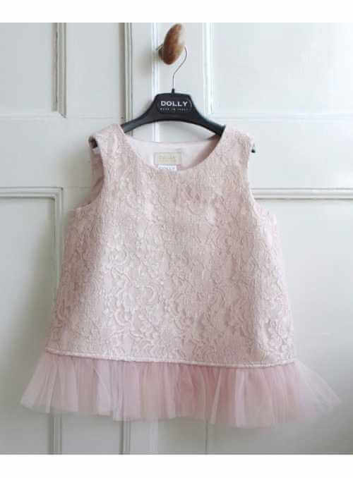 Exclusive Petite lace top with chiffon flounces - pink ballet